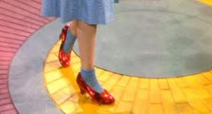 ruby slippers on the yellow brick road