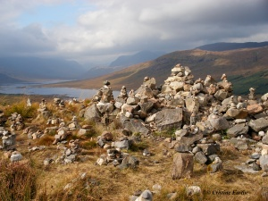 A field of cairns in the Highlands.